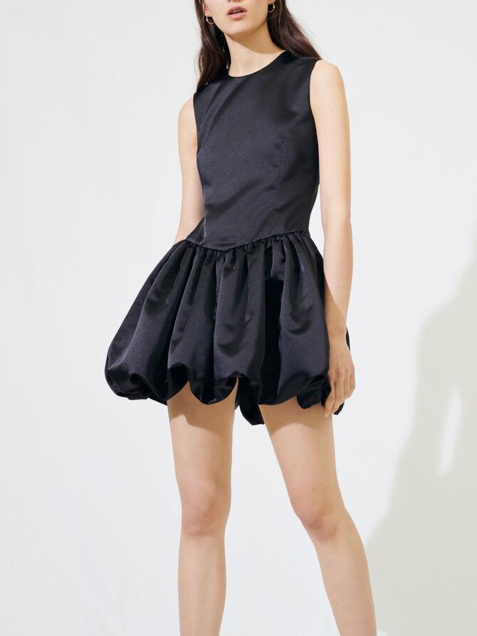 Satin mini dress with balloon skirt - Dresses - MAJE