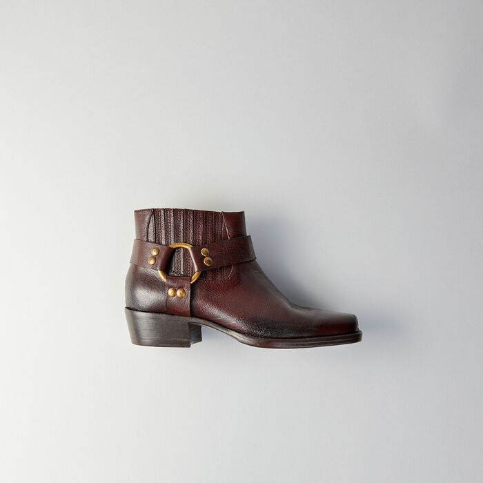 Square-toe ankle boots : Shoes color Brown