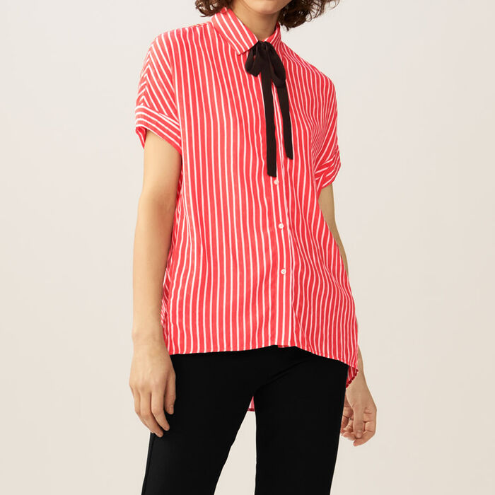Striped shirt with ascot tie : Tops & Shirts color Stripe