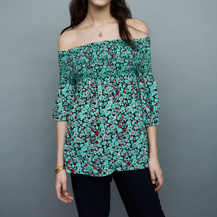Printed cold-shoulder top : Tops & Shirts color PRINTED