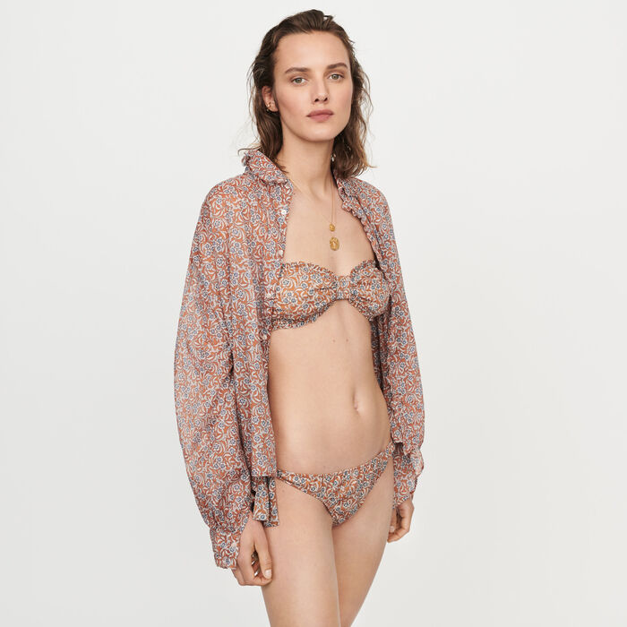 Floral-print bikini : Swimsuits color Terracota