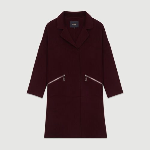 Coat in double-face wool : Coats & Jackets color Burgundy