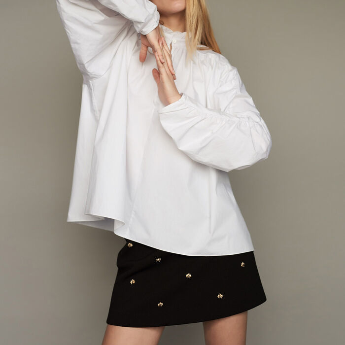 Oversized blouse with gathers : Tops & T-Shirts color White