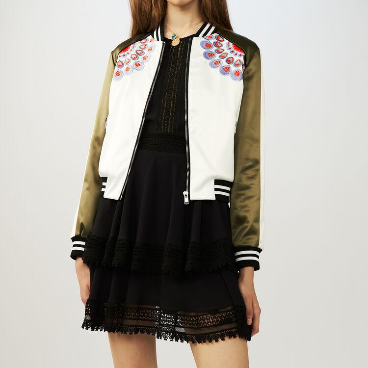 Embroidered satin bomber jacket : Coats & Jackets color Khaki