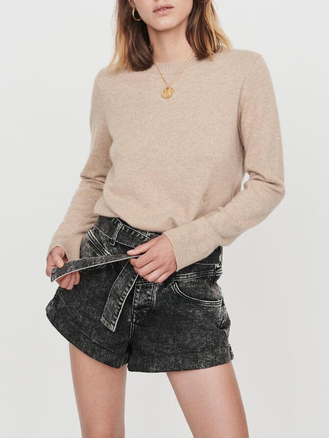Cashmere jewel-neck sweater - The Essentials - MAJE