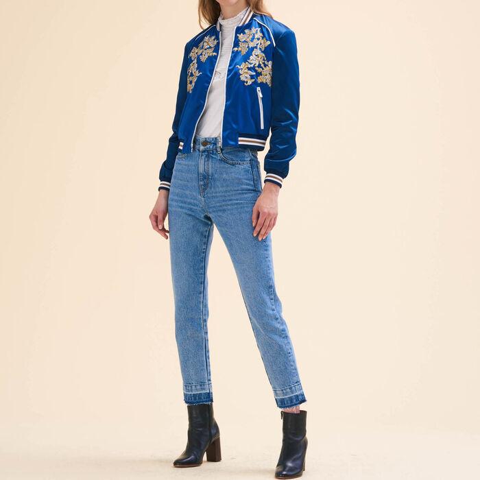 Embroidered bomber jacket : Coats & Jackets color Blue