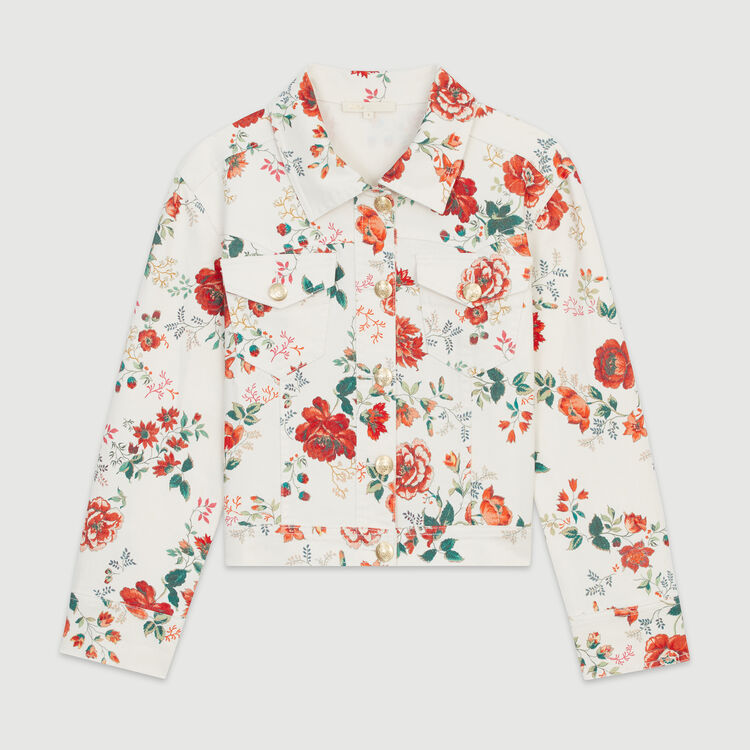Denim jacket with floral print : Coats & Jackets color PRINTED
