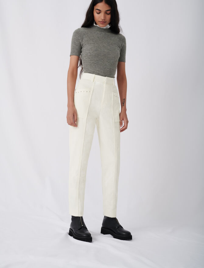 Corduroy trousers with studs -  - MAJE