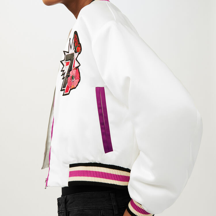 Cropped embroidered jacket : Coats & Jackets color White