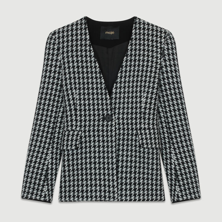 Wool houndstooth jacket : Coats & Jackets color Jacquard