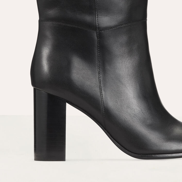 Heeled leather booties : Shoes & Accessories color Black 210