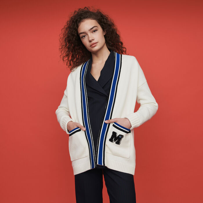 Contrast striped embroidered cardigan : Sweaters color Ecru