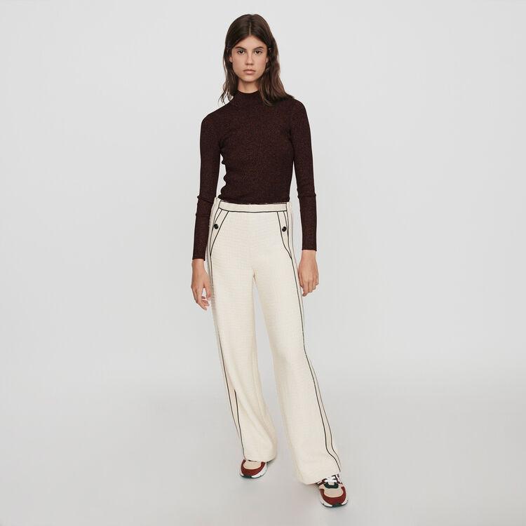 Tweed-style contrast wide-leg pants : Pants & Jeans color Ecru