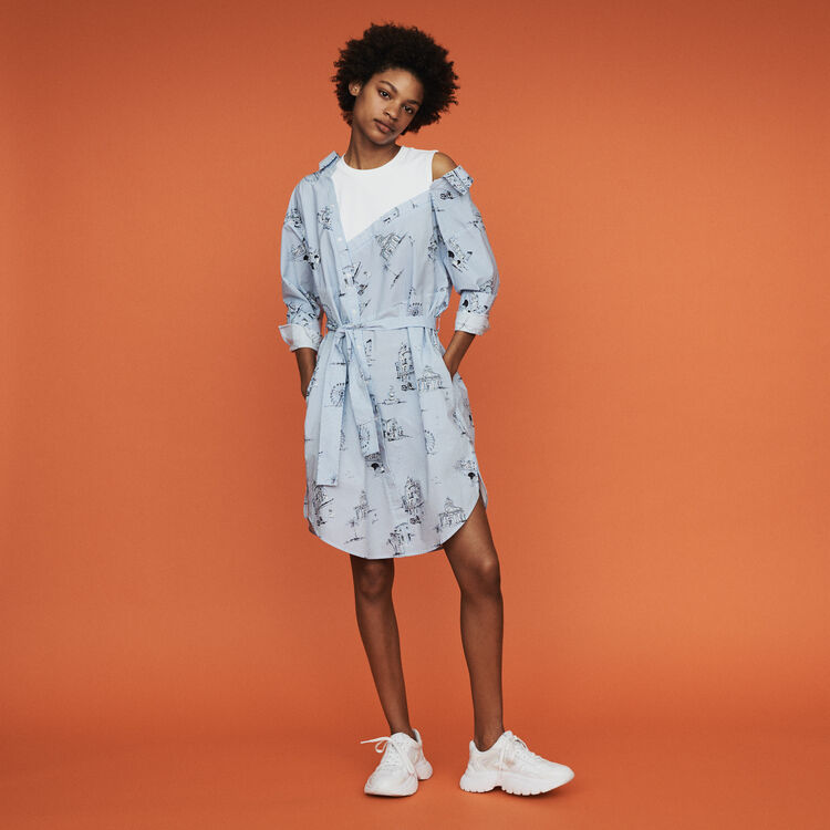 Printed shirt dress : Dresses color Blue