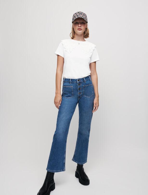 마쥬 티셔츠 MAJE Jersey T-shirt with large collar,Ecru
