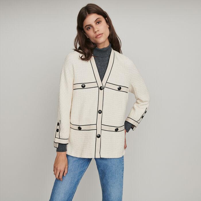 Tweed-style contrast jacket : Coats & Jackets color Ecru