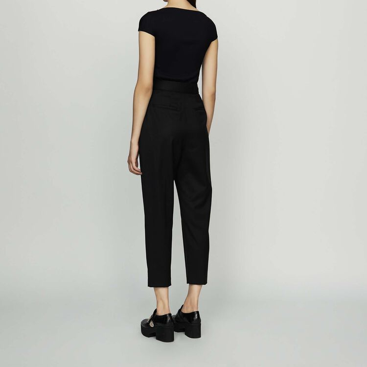 Pleated peg pants in virgin wool : New Collection color Black 210