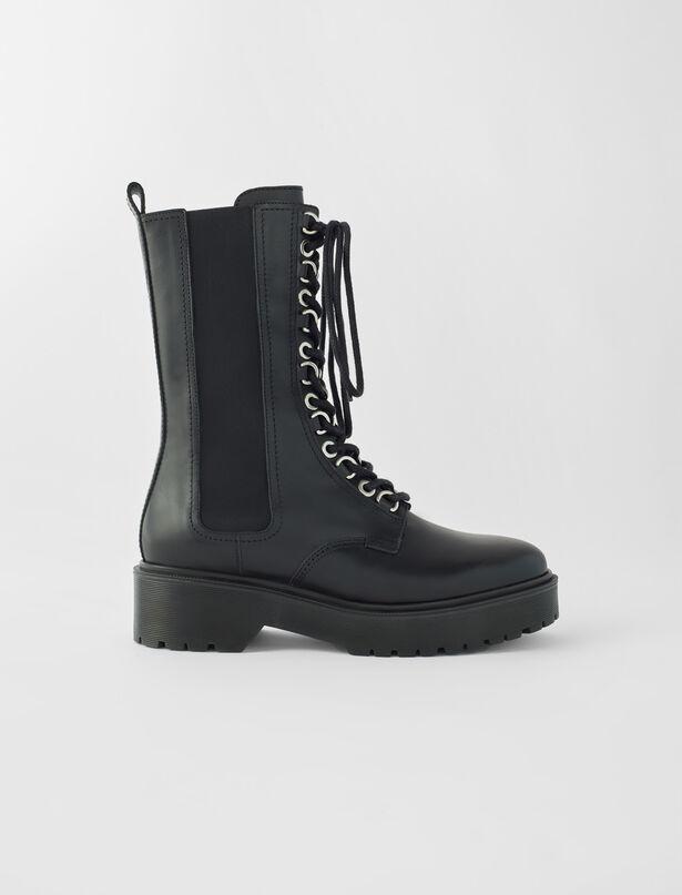 마쥬 하이킹 부츠, 송아지 가죽 - 블랙 MAJE Black leather high-heeled boots