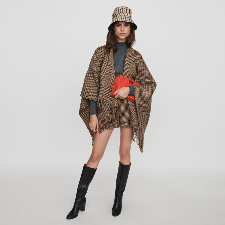 Plaid shorts with pleats and turn-ups : 70s belong to Women color Brown