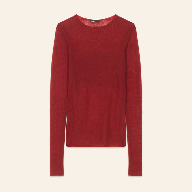 Fitted top in wool muslin : Tops & T-Shirts color Burgundy