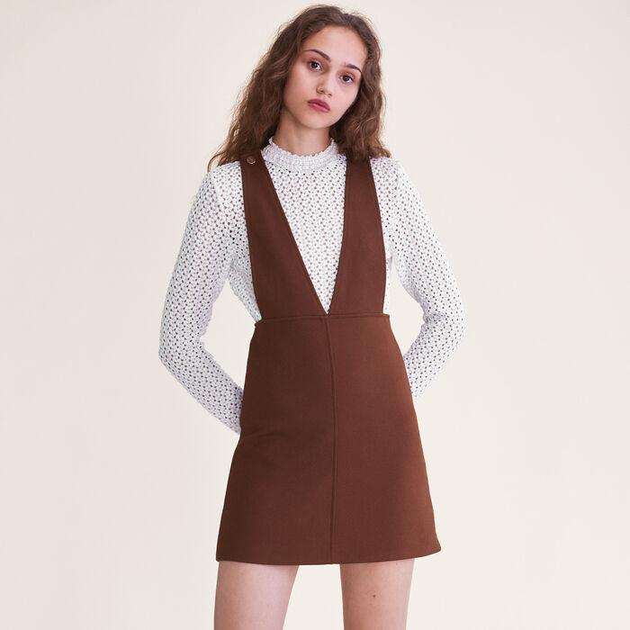 Short strappy dress : Dresses color Caramel