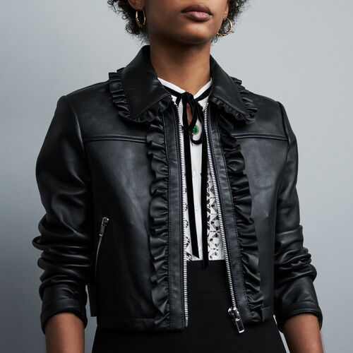 Cropped leather jacket with ruffles : Coats & Jackets color Black 210