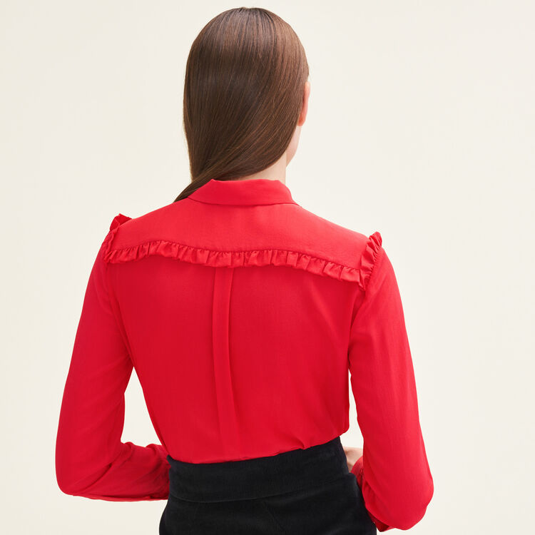 Frilled silk shirt : Tops & Shirts color Red