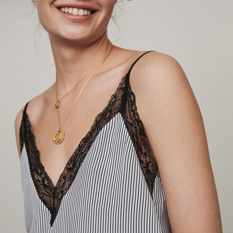 Striped camisole with lace trim : Fall Pre-Collection color White / Black