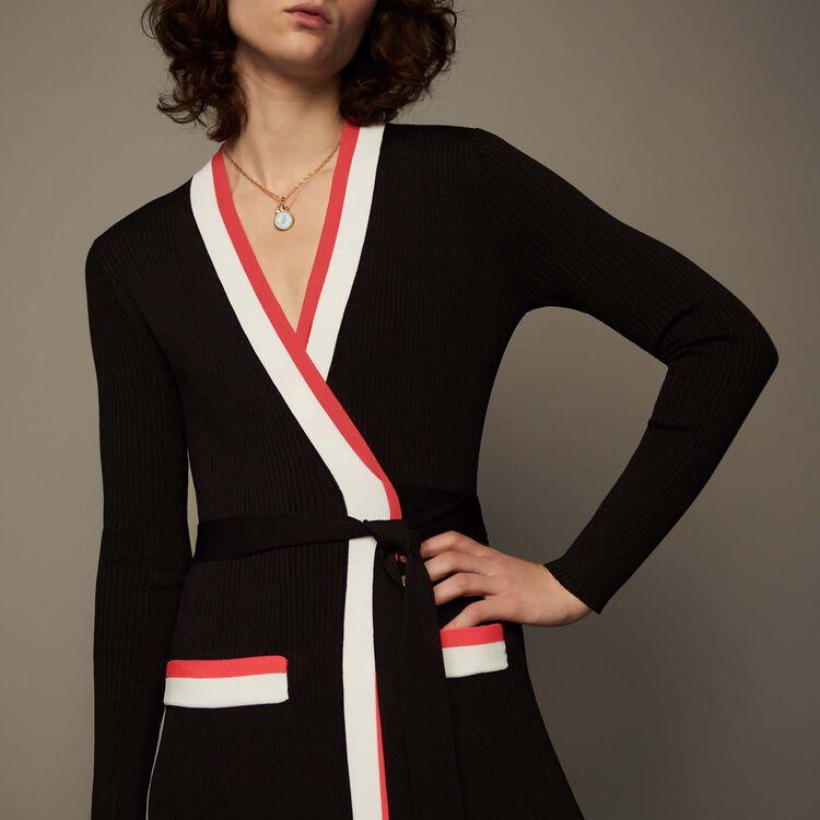 Maxi knit wrap dress : Dresses color Black 210