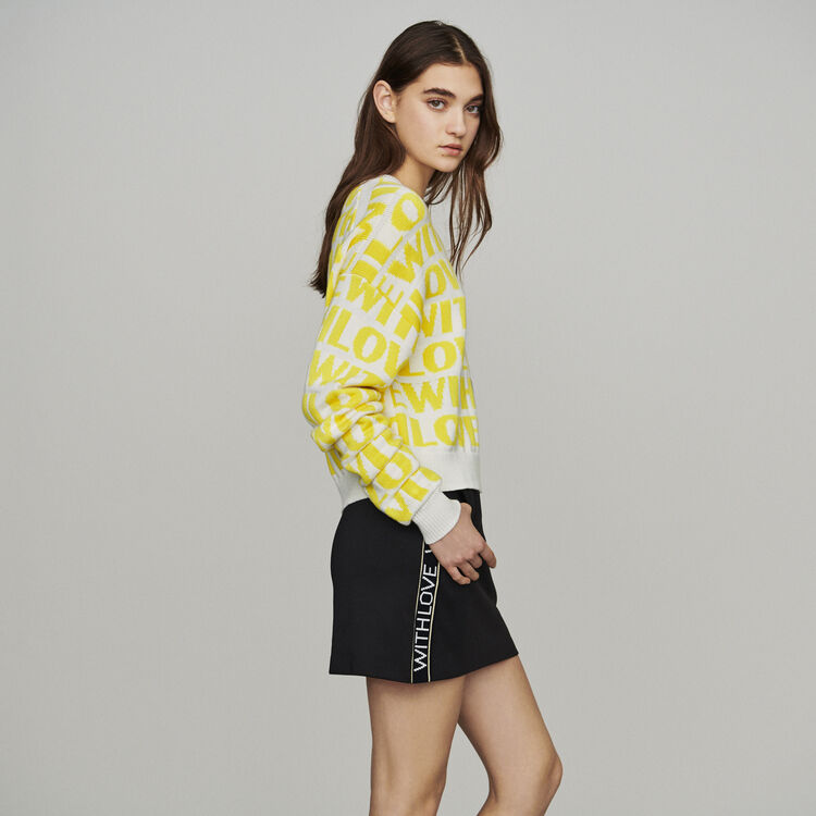 Jacquard sweater with slogan : New in: Spring Collection color Yellow