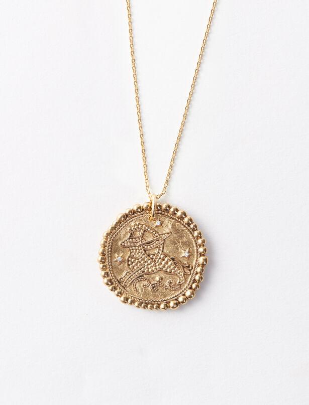 마쥬 MAJE Sagittarius zodiac sign necklace,Old Brass