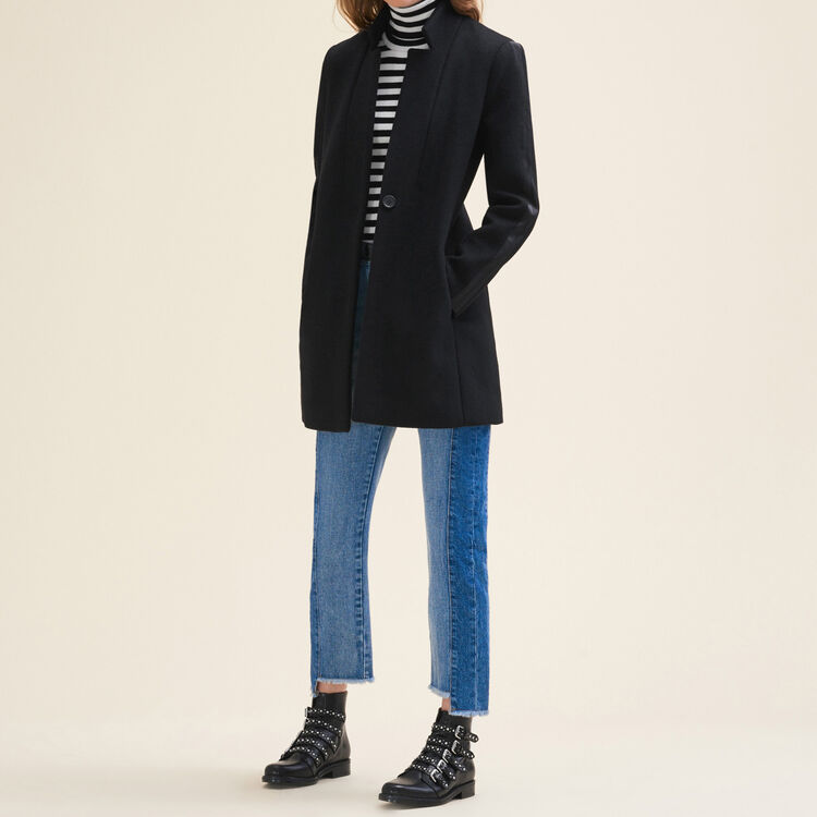Straight-cut wool coat : null color