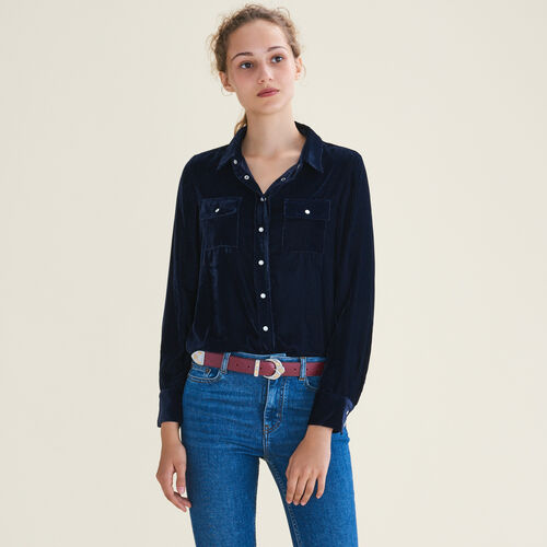 Velvet shirt : Tops & T-Shirts color Navy
