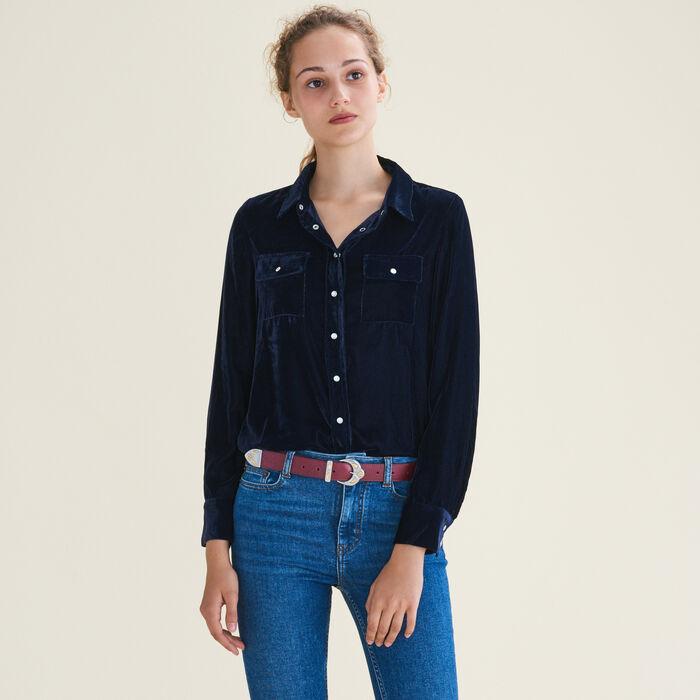 Velvet shirt : Tops & Shirts color Navy