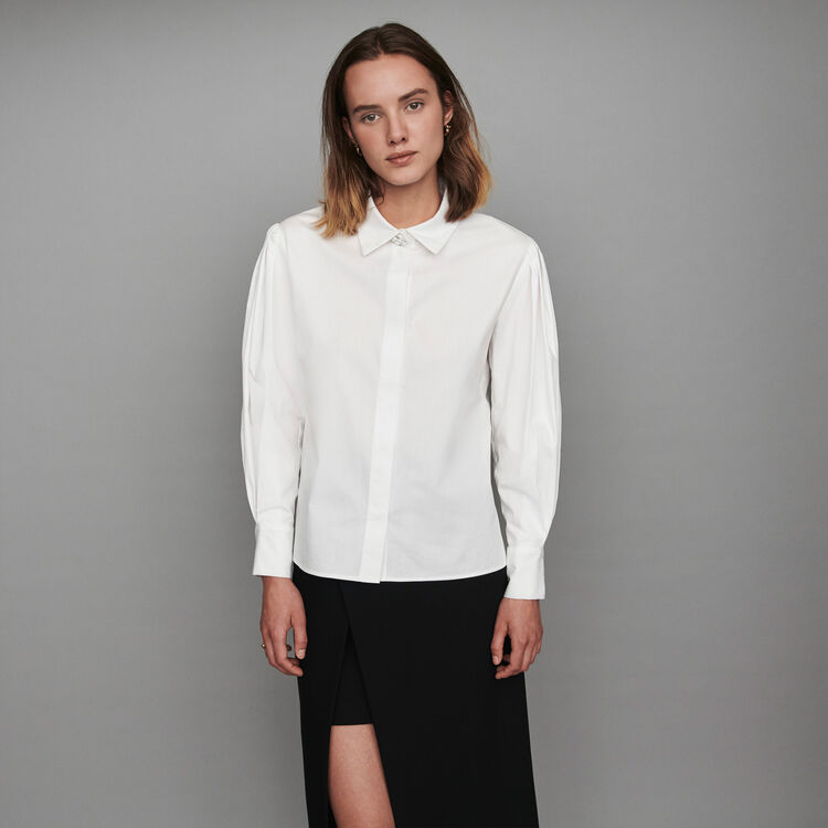 Jeweled button poplin shirt : Tops & T-Shirts color White