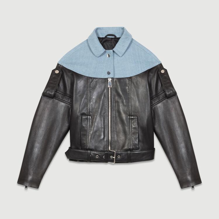 Leather-denim blend jacket : Coats & Jackets color Black 210
