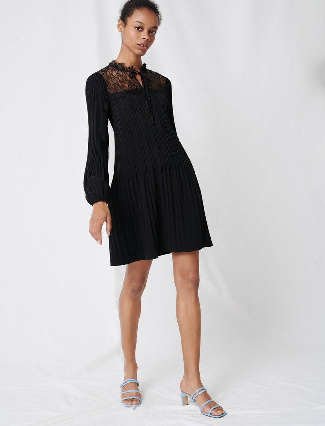Pleated lace dress - View All Clothing - MAJE