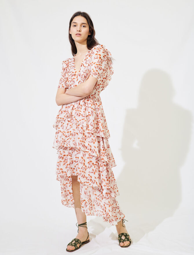 Printed maxi dress with ruffles - Dresses - MAJE