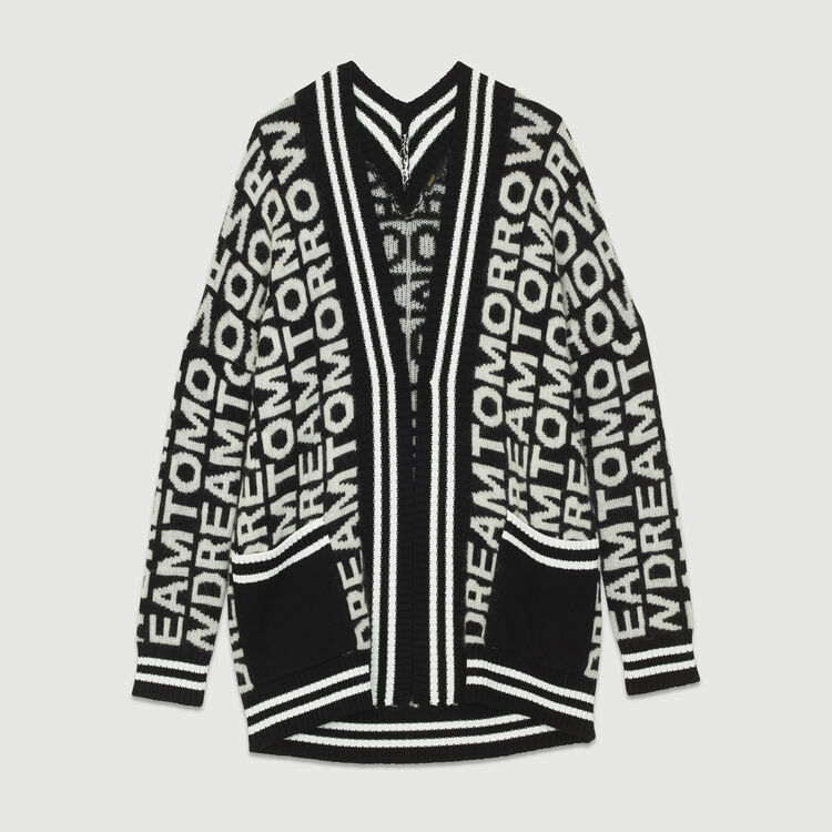 Oversize cardigan in novelty knit : Sweaters color Black 210