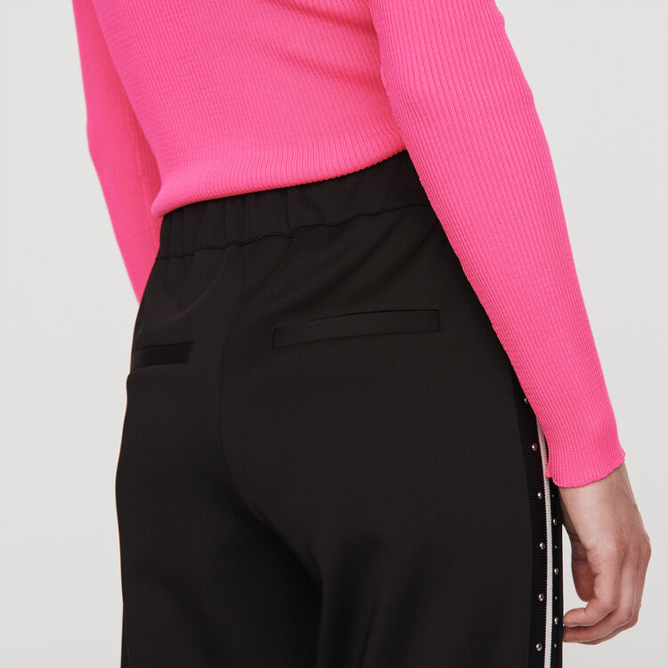 Studded pants with contrasting stripes : Pants & Jeans color Black
