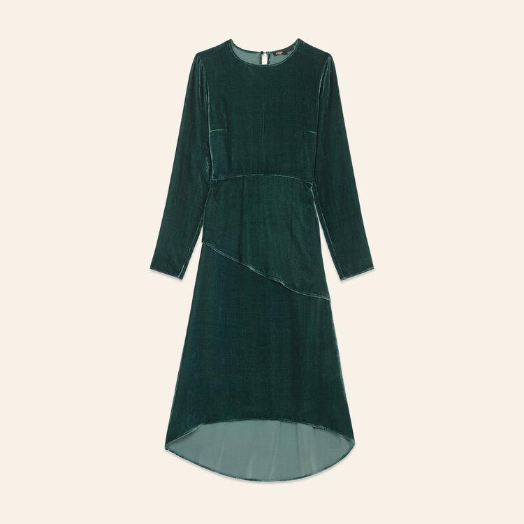 Long dresse in velvet : Dresses color GREEN