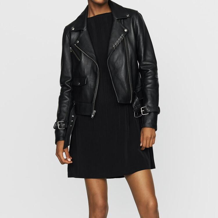 Biker-style leather jacket : Coats & Jackets color BLACK