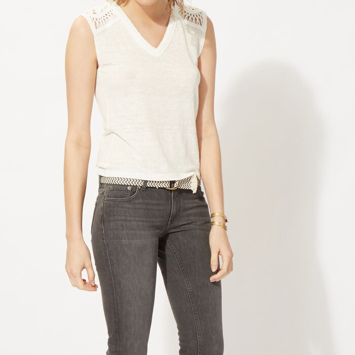 Sleeveless linen T-shirt : null color