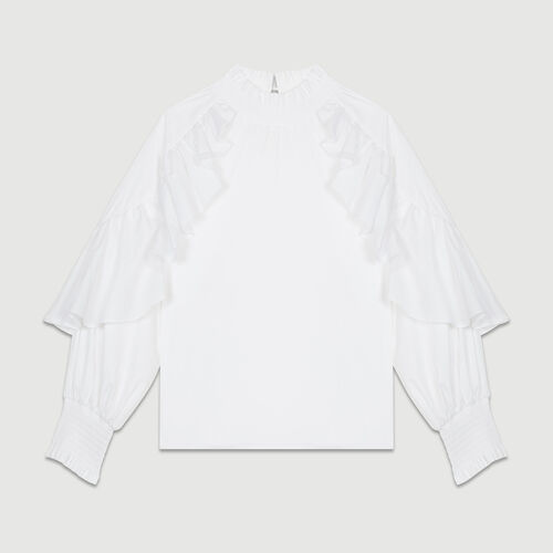 Ruffled cotton poplin blouse : Tops & Shirts color White