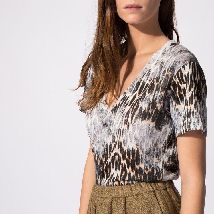 Leopard-print linen T-shirt : null color
