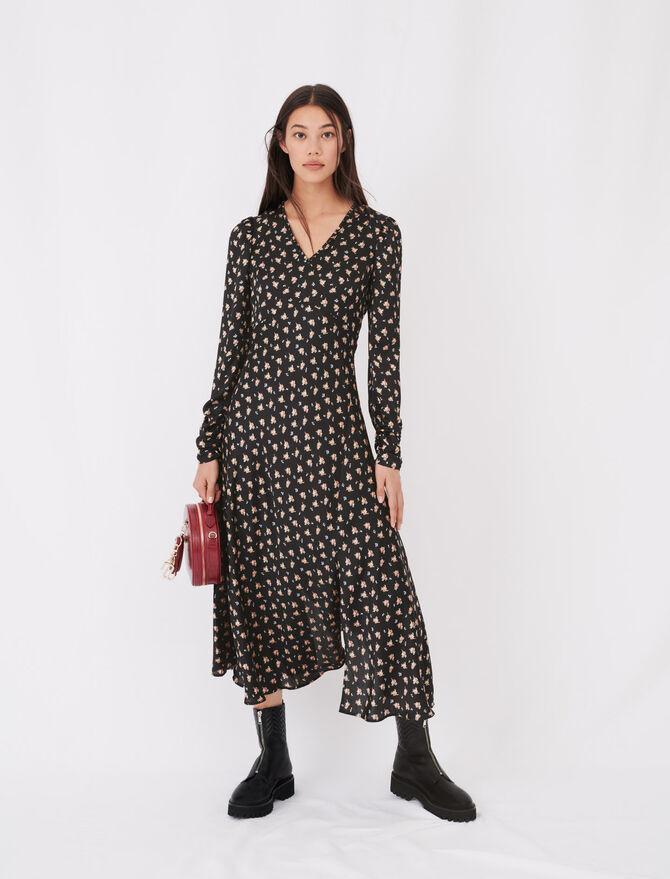 Satin floral print dress - Dresses - MAJE