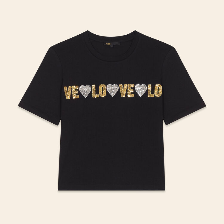 Cotton T-shirt with sequins : Tops & Shirts color Black 210
