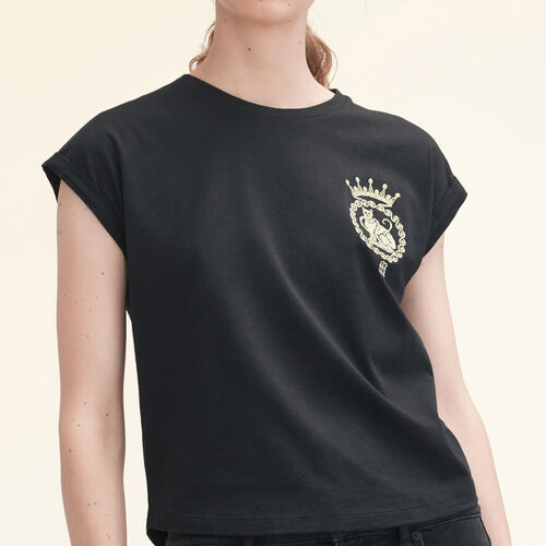 Cotton T-shirt : Tops & T-Shirts color Black 210