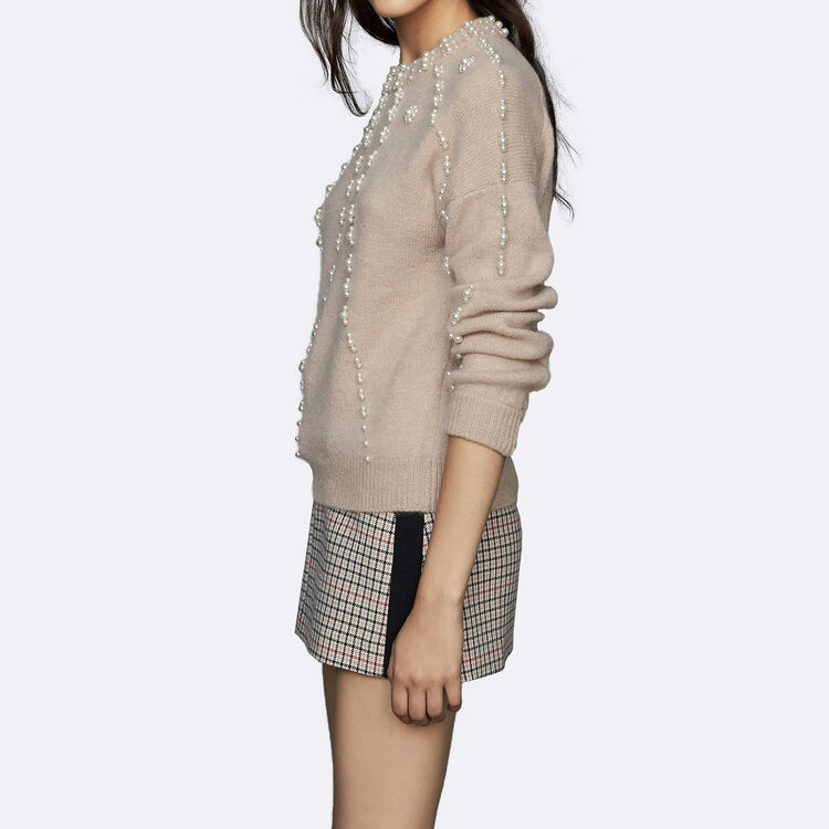 Oversize sweater in wool blend : Sweaters color Beige