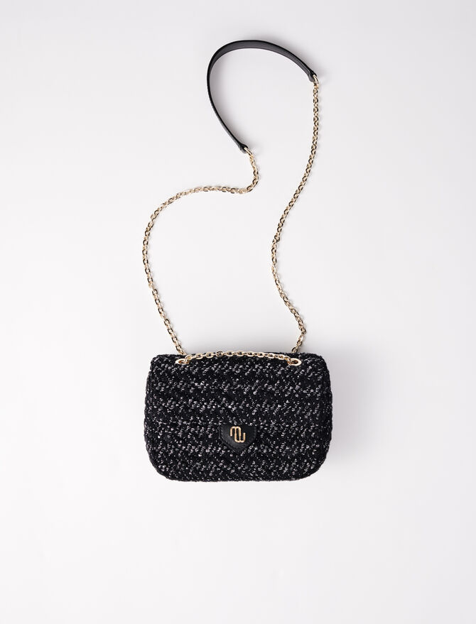 Tweed and chain mini bag with flap - Medium Bags - MAJE